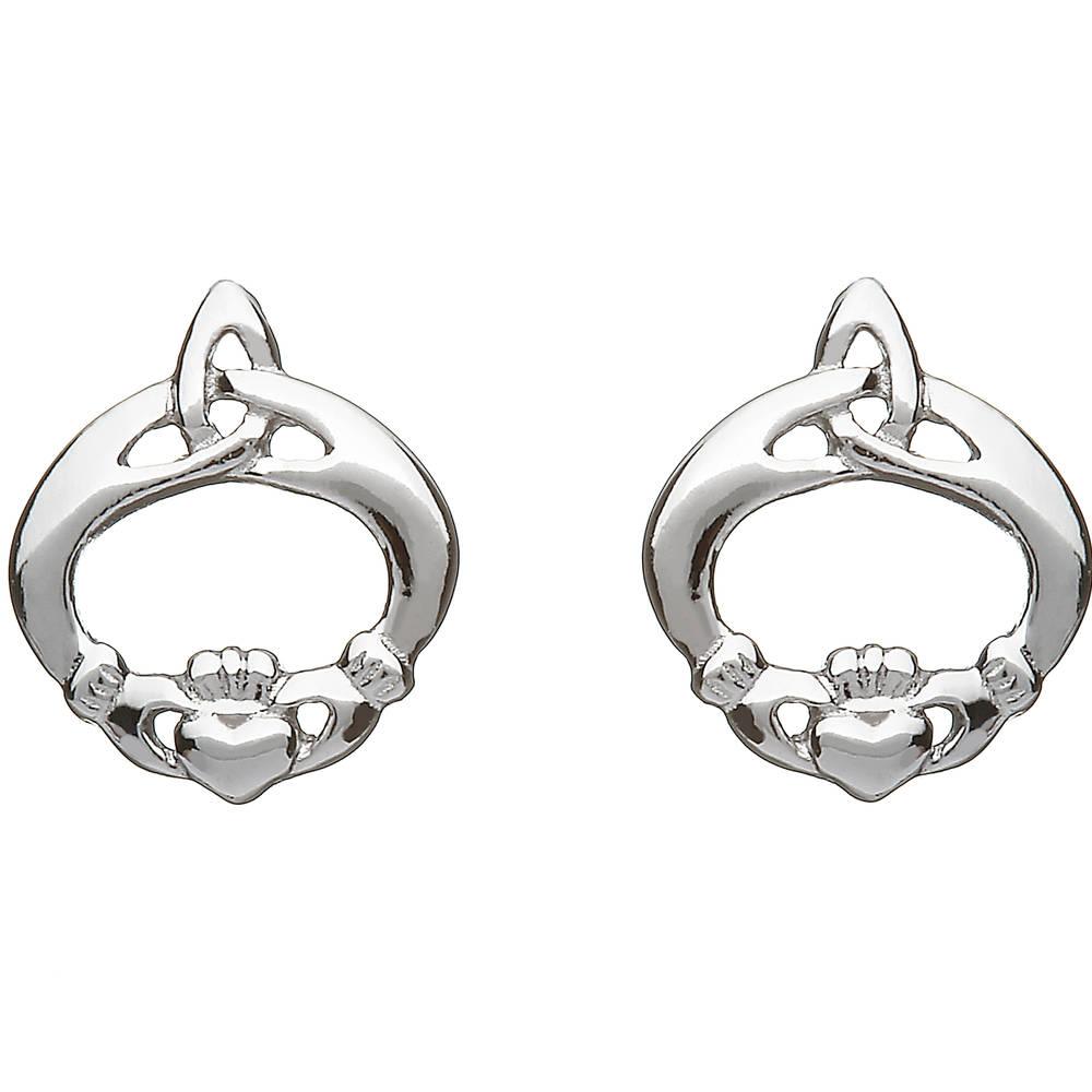 Silver Claddagh Celtic Knot Earrings