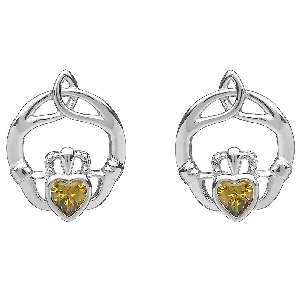 Silver Birthstone Stud Earrings Peridot