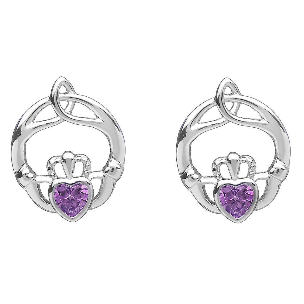 Silver Birthstone Stud Earrings Amethyst