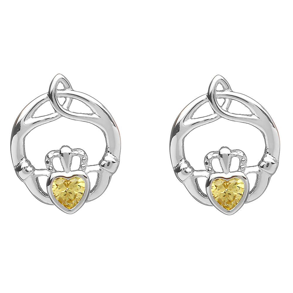 Silver Birthstone Stud Earrings Citrine