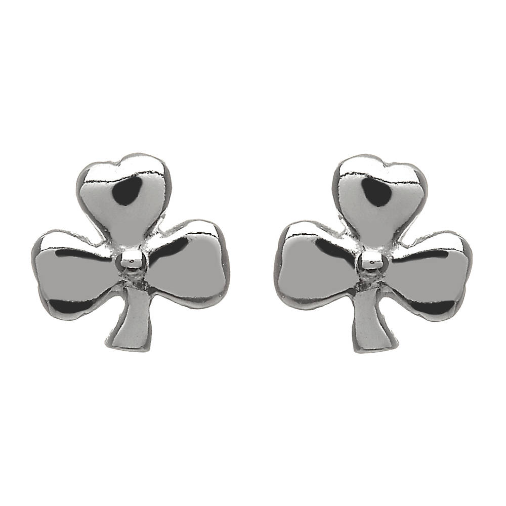 Silver Small Shamrock Earrings