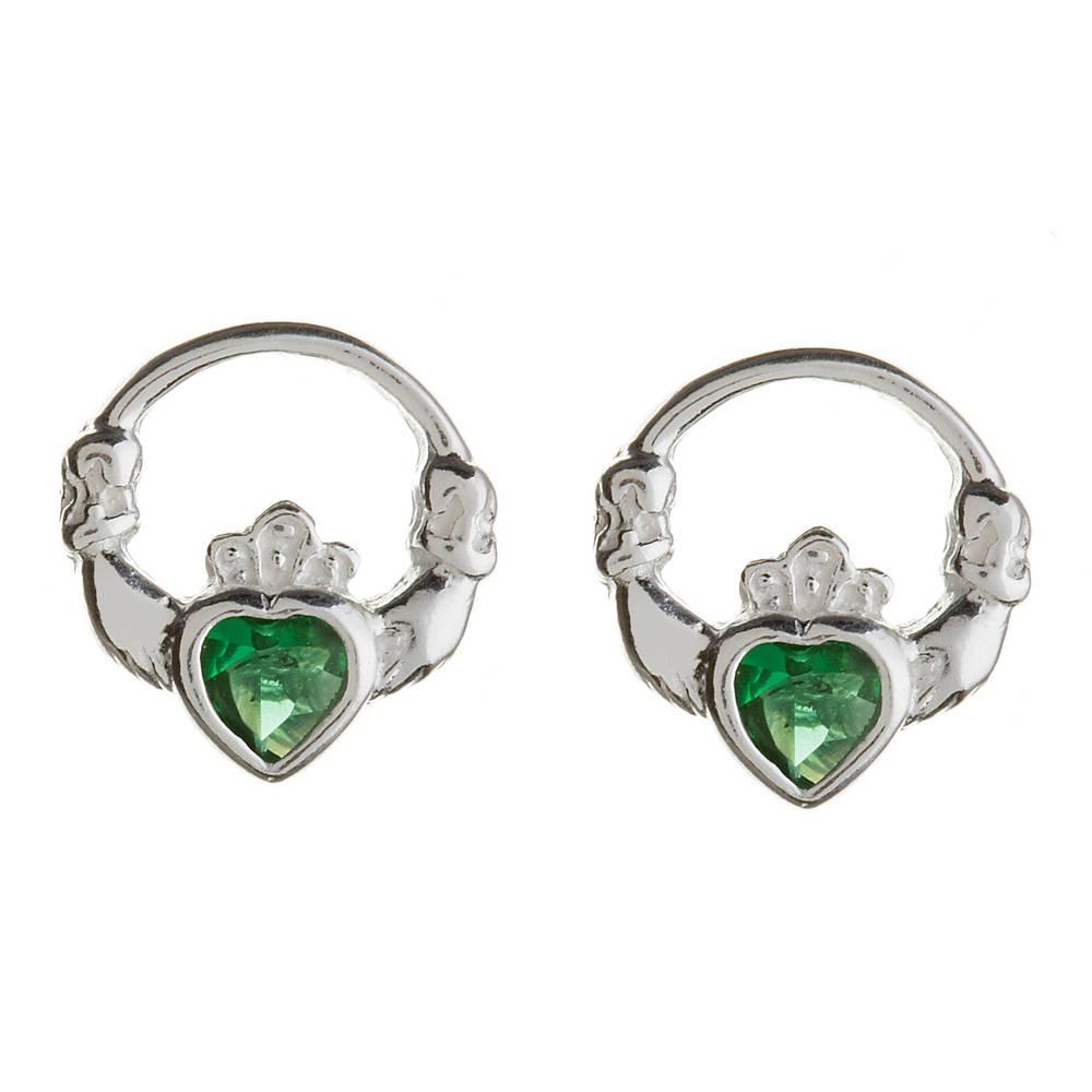 Silver Claddagh Studs Green Cz Heart
