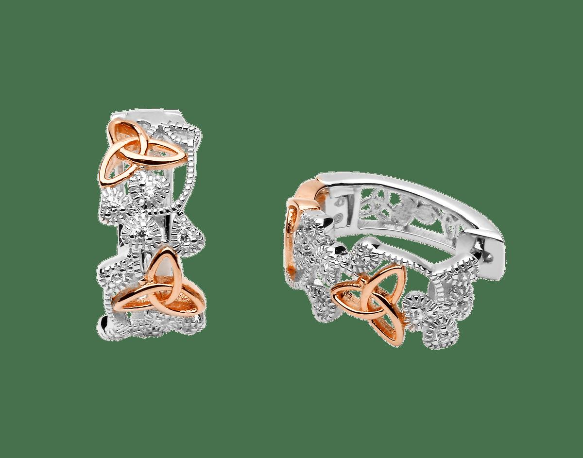 Silver Cz Shamrock  Earrings
