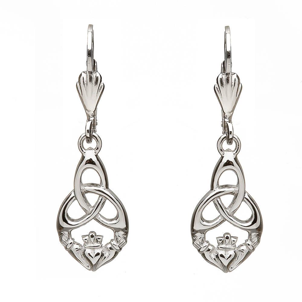 Silver Claddagh/trinity Drop Earrings