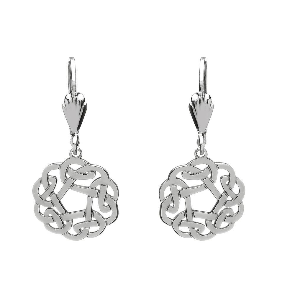 Silver Drop Round Celtic Earrings