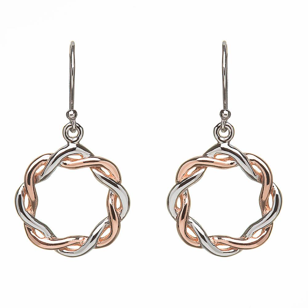Silver Round Celtic Drop Earrings