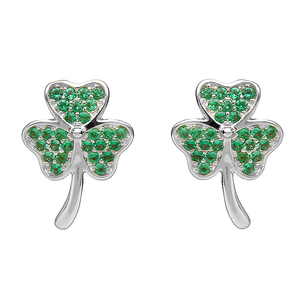 Silver Shamrock Stud Earrings Green Cz