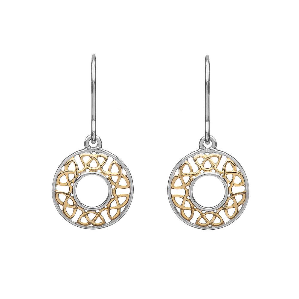 Silver/gp Celtic Round Drop Earrings
