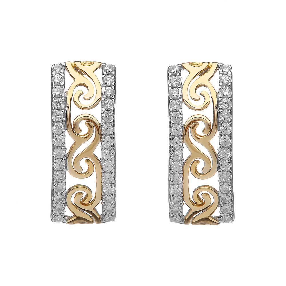 Silver/gp Celtic Huggie Earrings