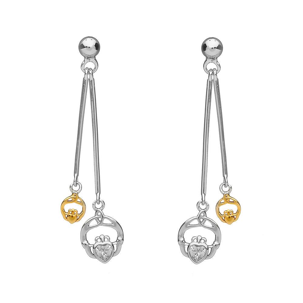 Silver Double Hanging Cz Earrings