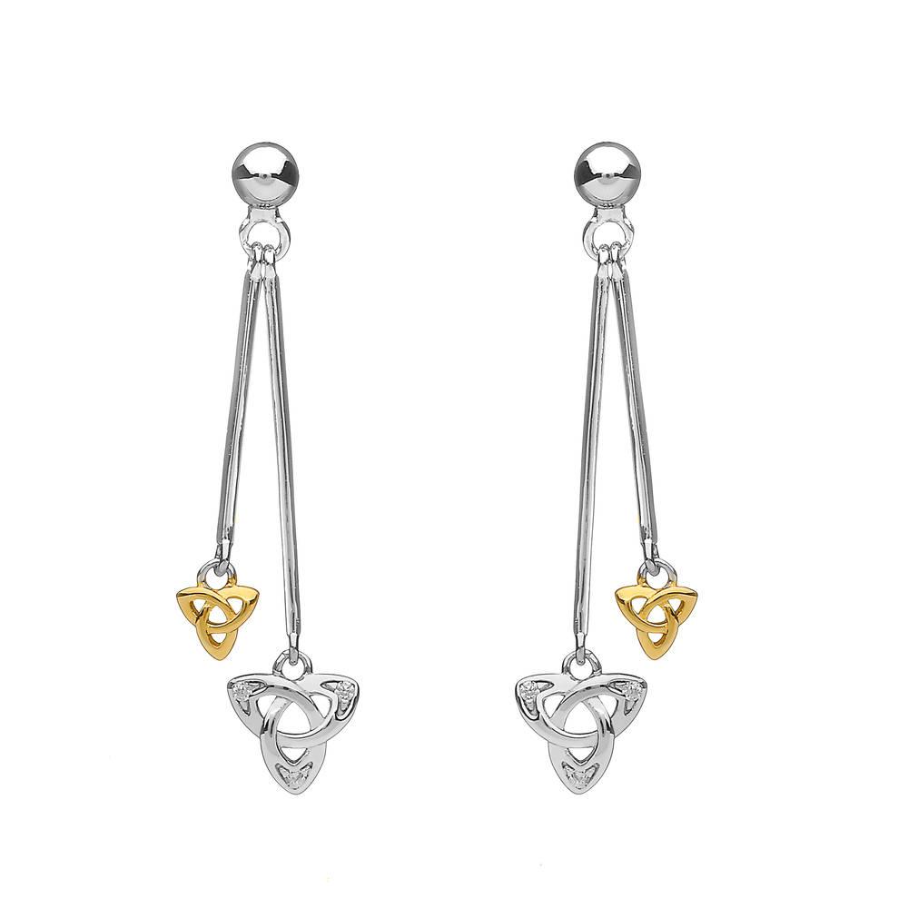 Silver Double Hanging  Trinity Earrings