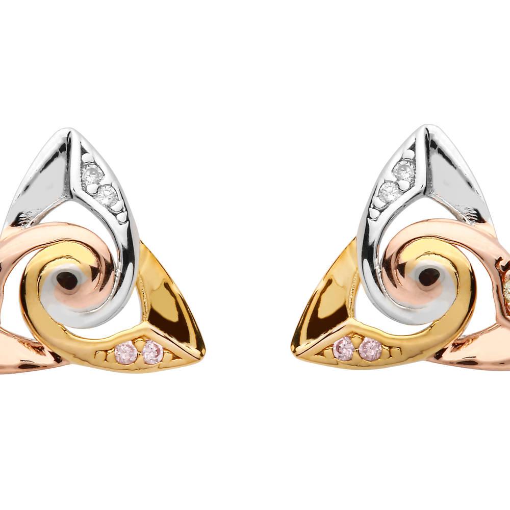 Silver Spiral Centre Tri Colour Earrings