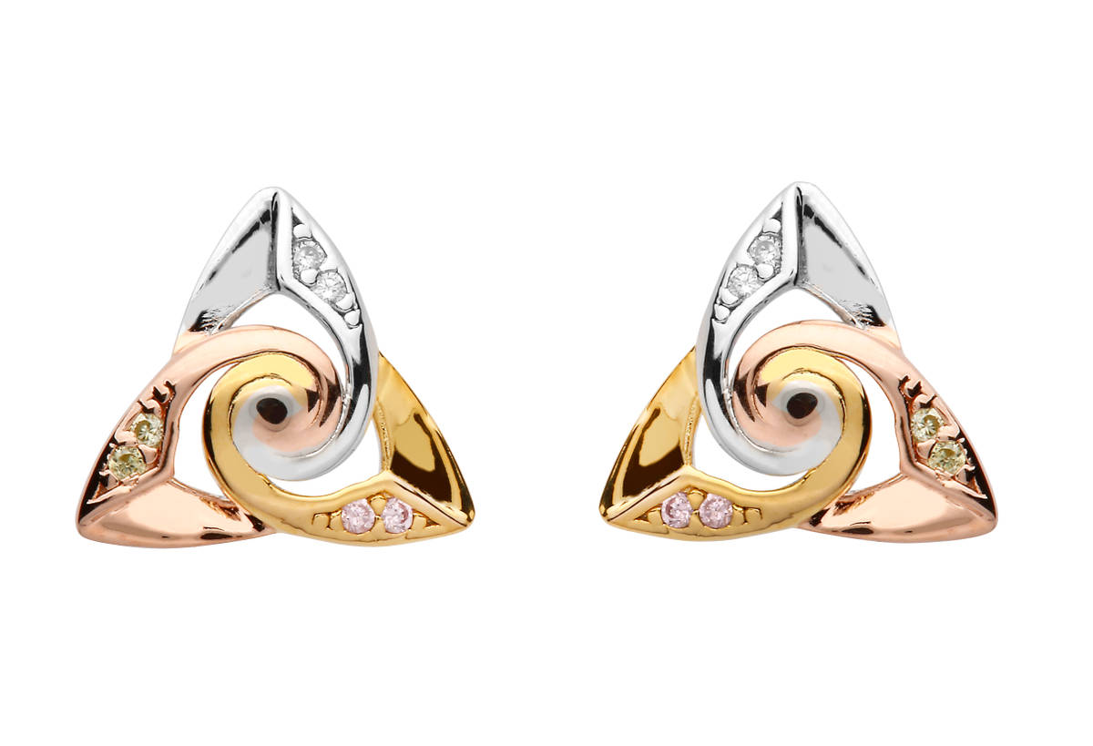 S/silver Cs Trinity Spiral Centre Tri Colour Earrings