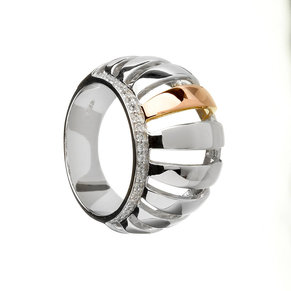 House of Lor silver/rose gold cz set chunky ring centre piece made from rare Irish gold