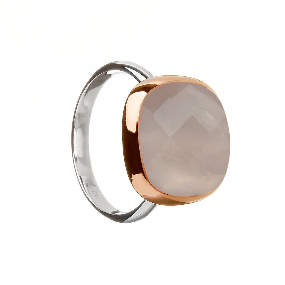 House of Lor silver/rose gold rose quartz stone ring with outer rim made from rare Irish gold