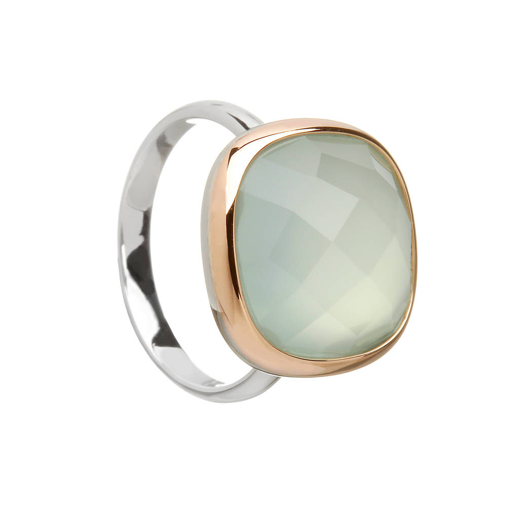 House of Lor silver/rose gold blue chalcedony stone ring with outer rim made from rare Irish gold