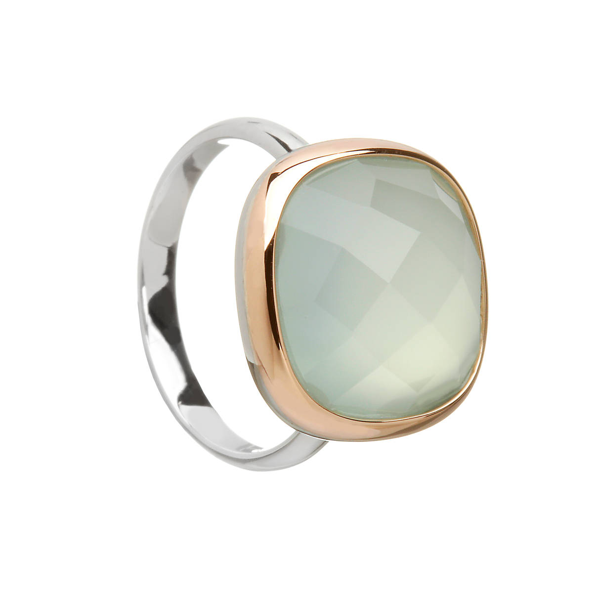 House of Lor silver/rose gold blue chalcedony stone ring with outer rim made from rare Irish goldtick/okcck