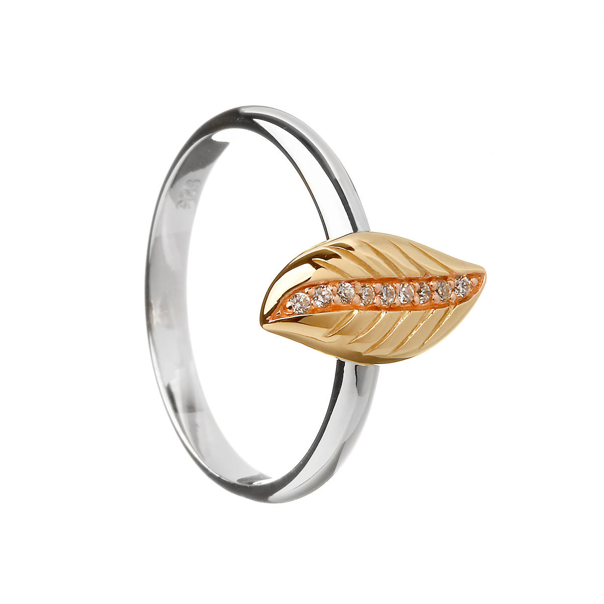 House of Lor silver/rose gold cz ring leaf made from rare Irish gold