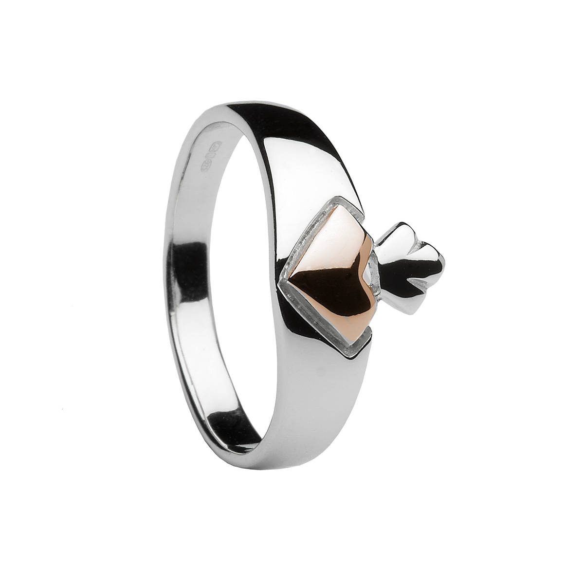 H of L silver/rose gold Claddagh ring heart made from rare Irish gold