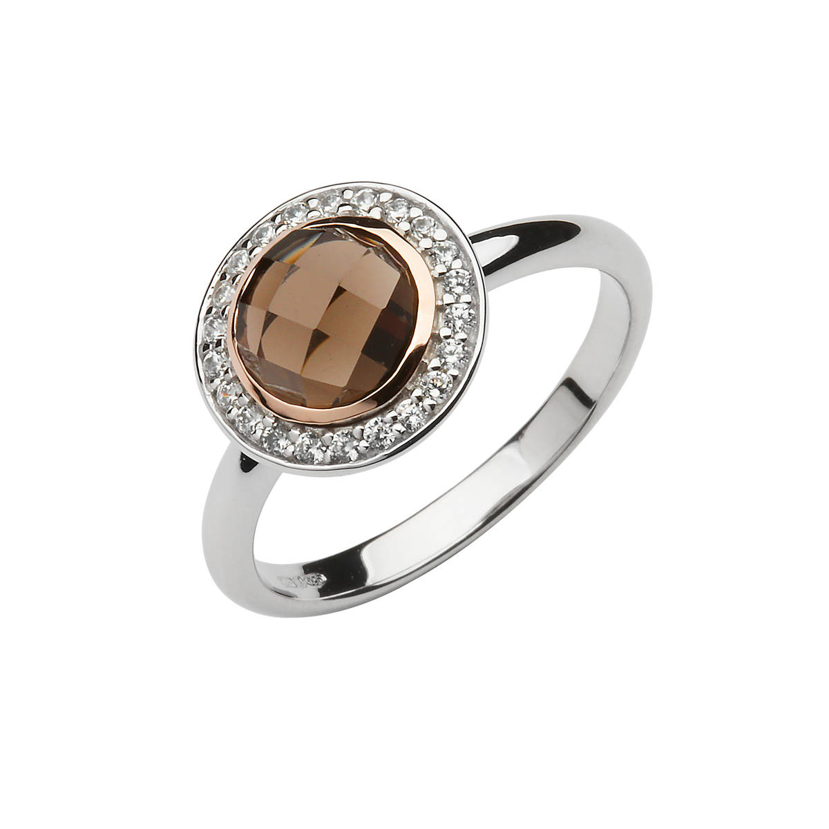 sterling silver and rose gold cz set halo with smokey quartz centre stone and made with rare Irish gold.