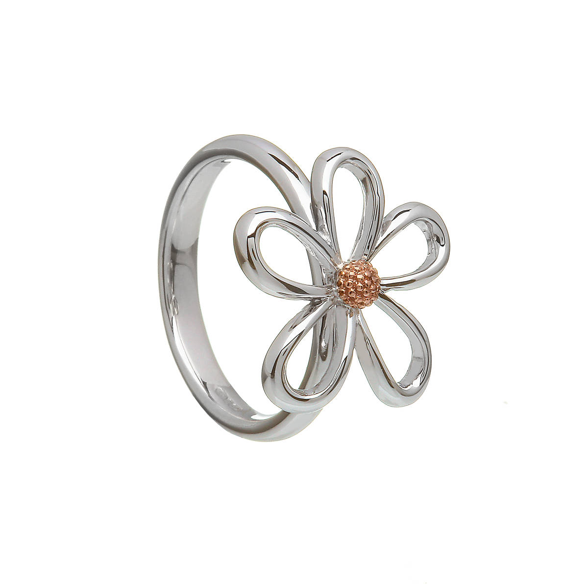 silver and rare Irish rose gold open petal ring with gold centre.