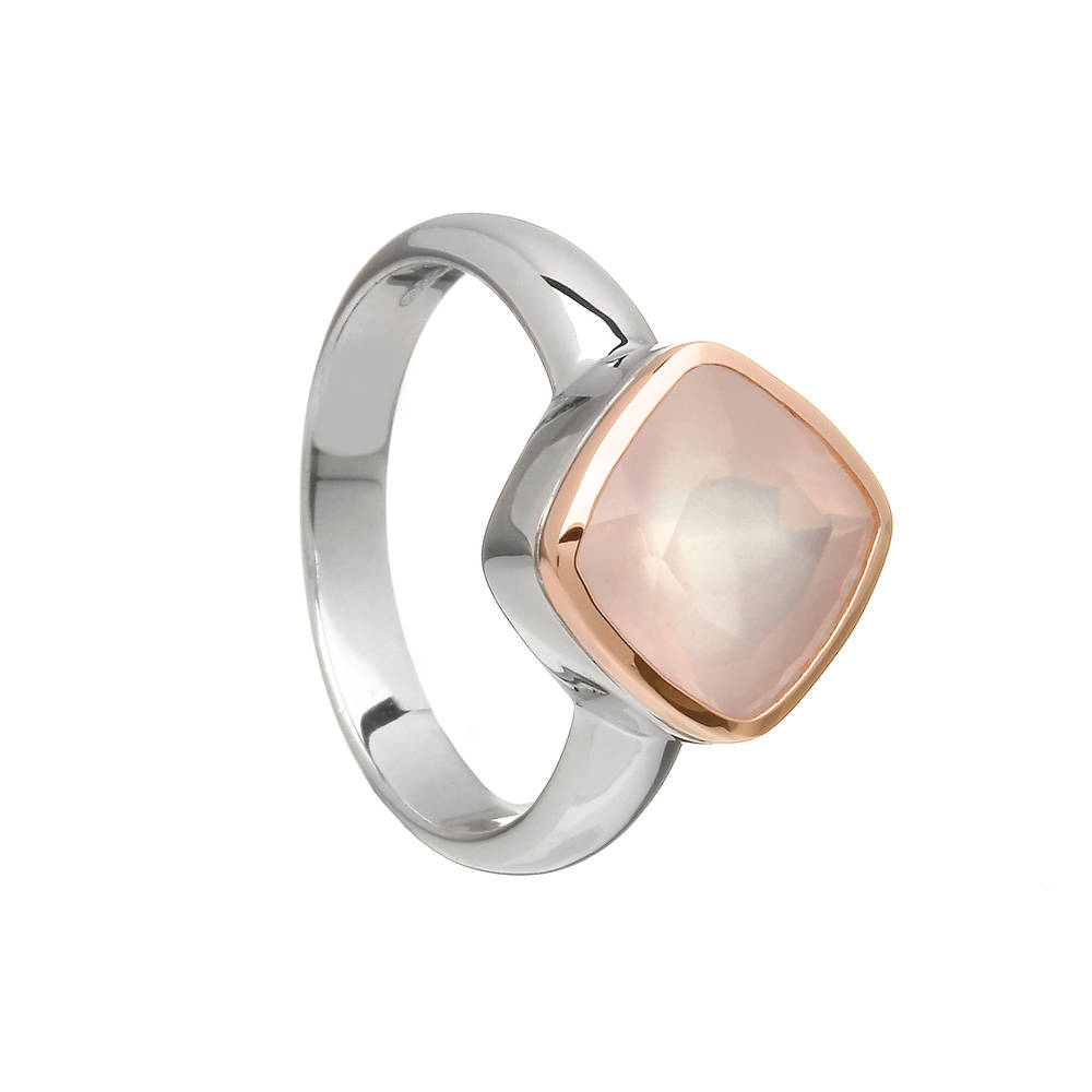 Silver and rose gold ring with pink quartz stone