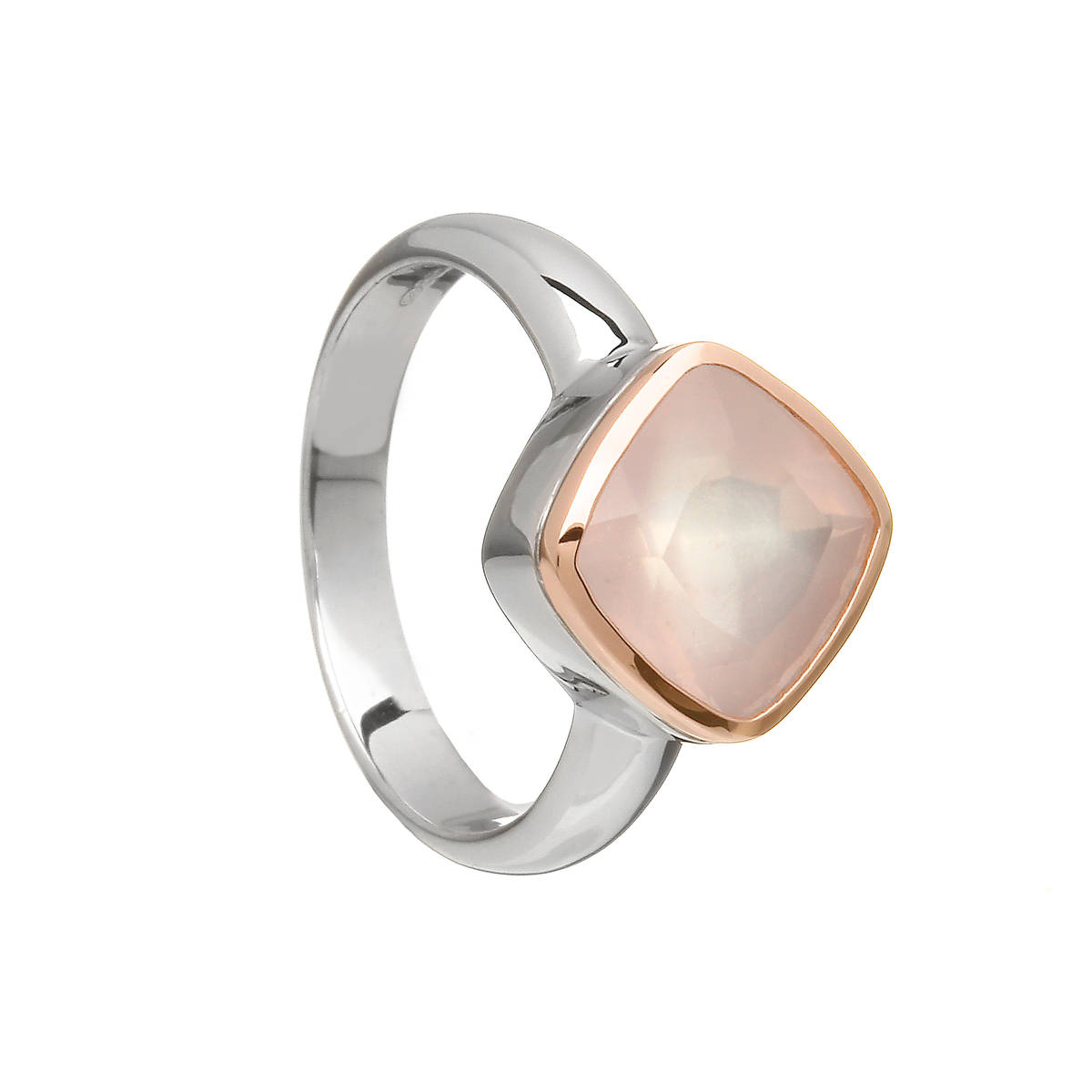 sterling silver and Irish rose gold ring with pink quartz diamond shape checkerboard cabochon