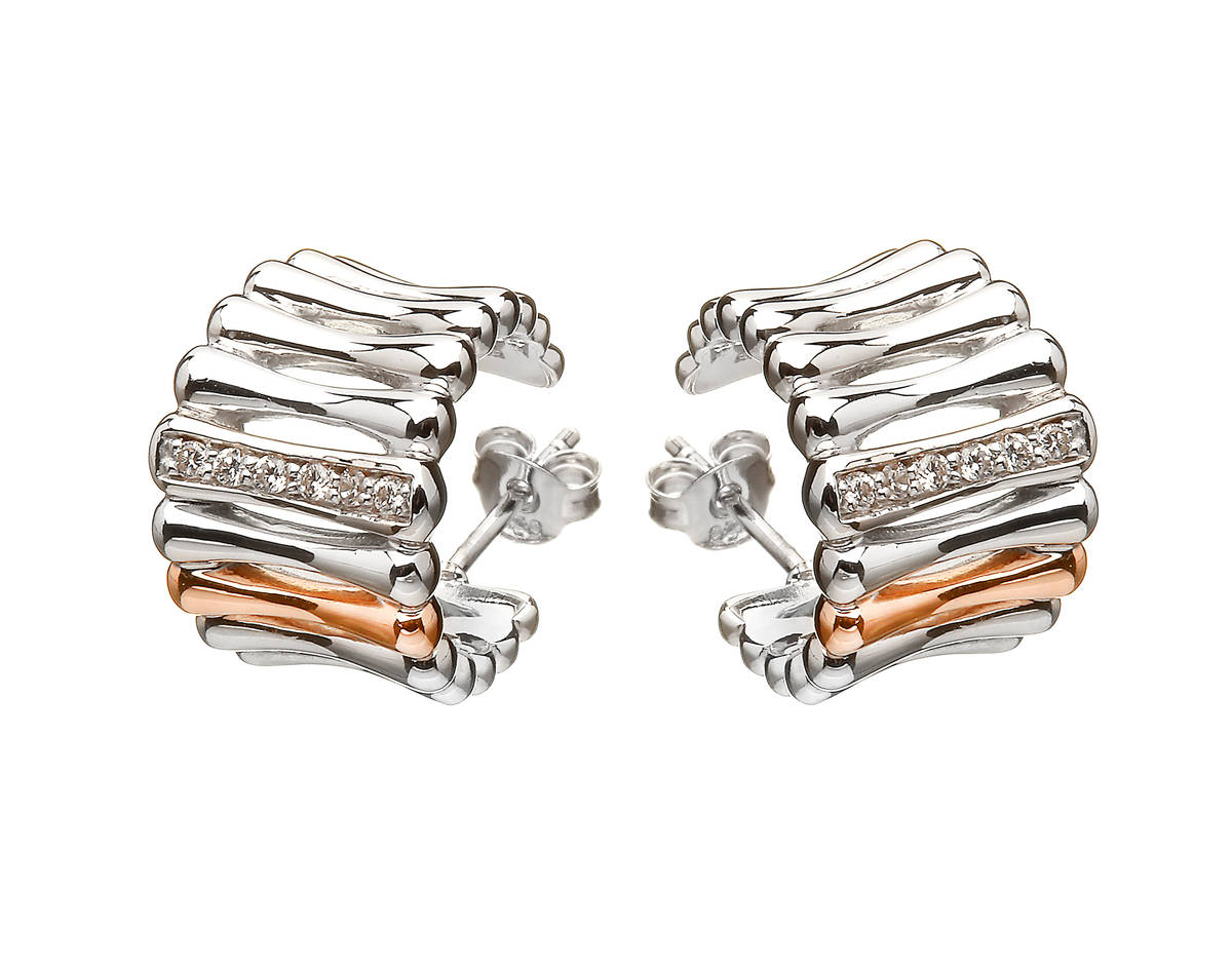House of Lor silver/rose gold cz huggie earrings 1 bar on each made from rare Irish gold