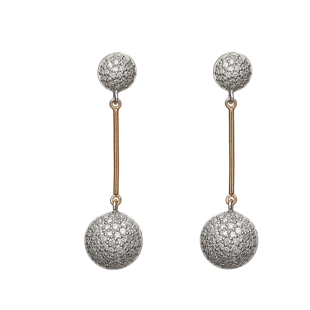 House of Lor silver/rose gold cz circle drop earrings middle bar on each made from rare Irish gold