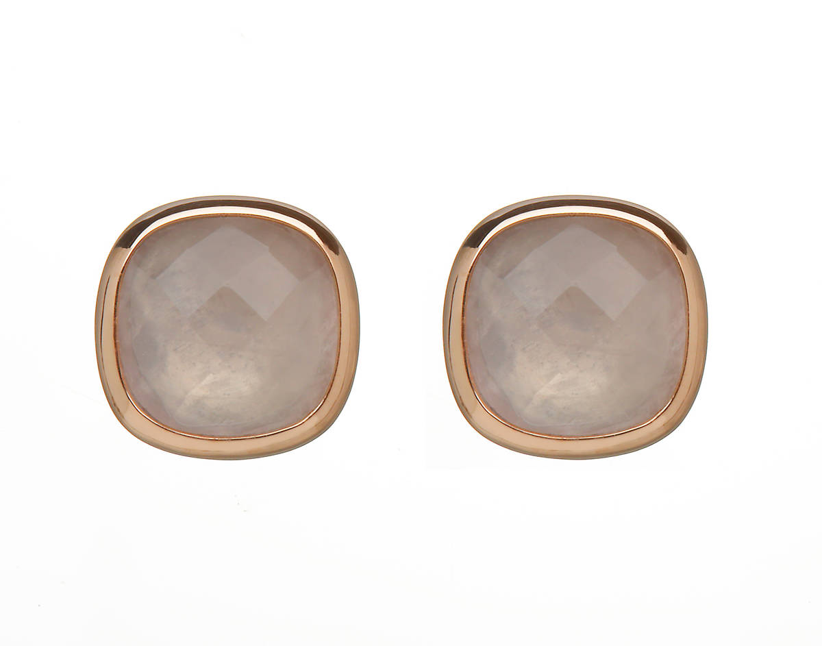 House of Lor silver/rose gold earrings with rose quartz stone outer rim made from rare Irish gold