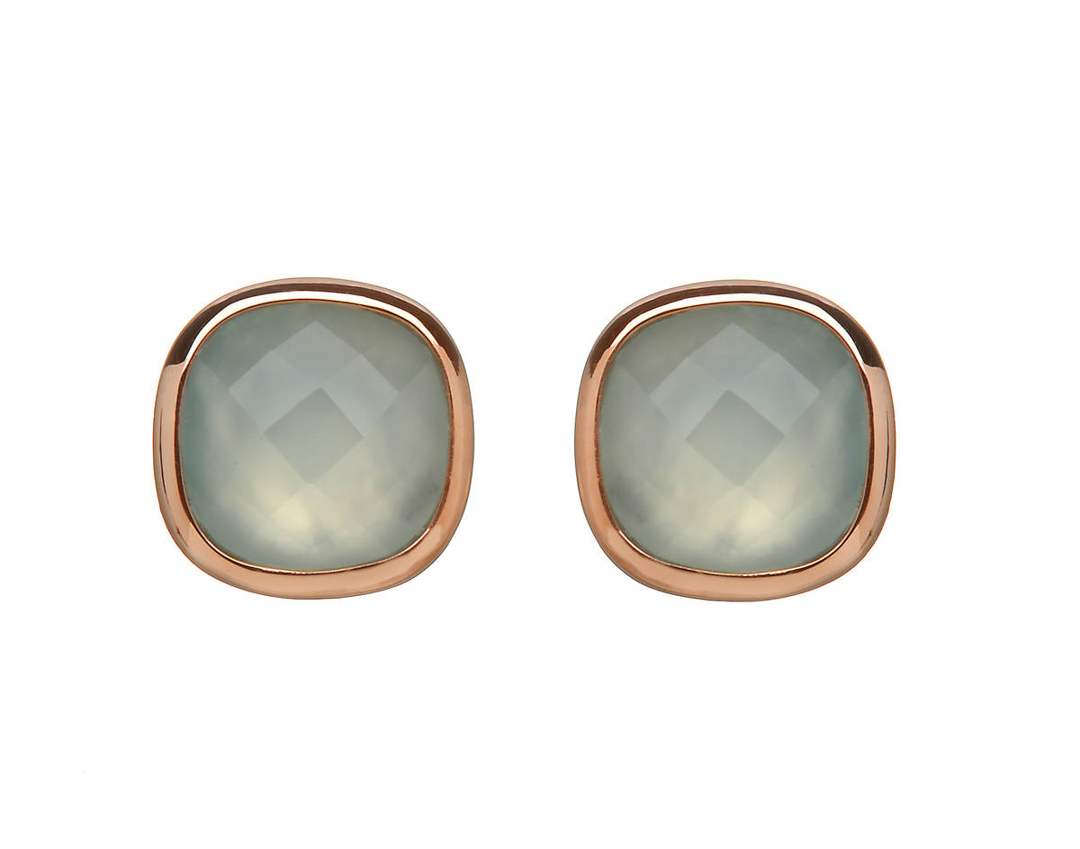 House of Lor silver/rose gold earrings with blue chalcedony stone outer rim made from rare Irish gold