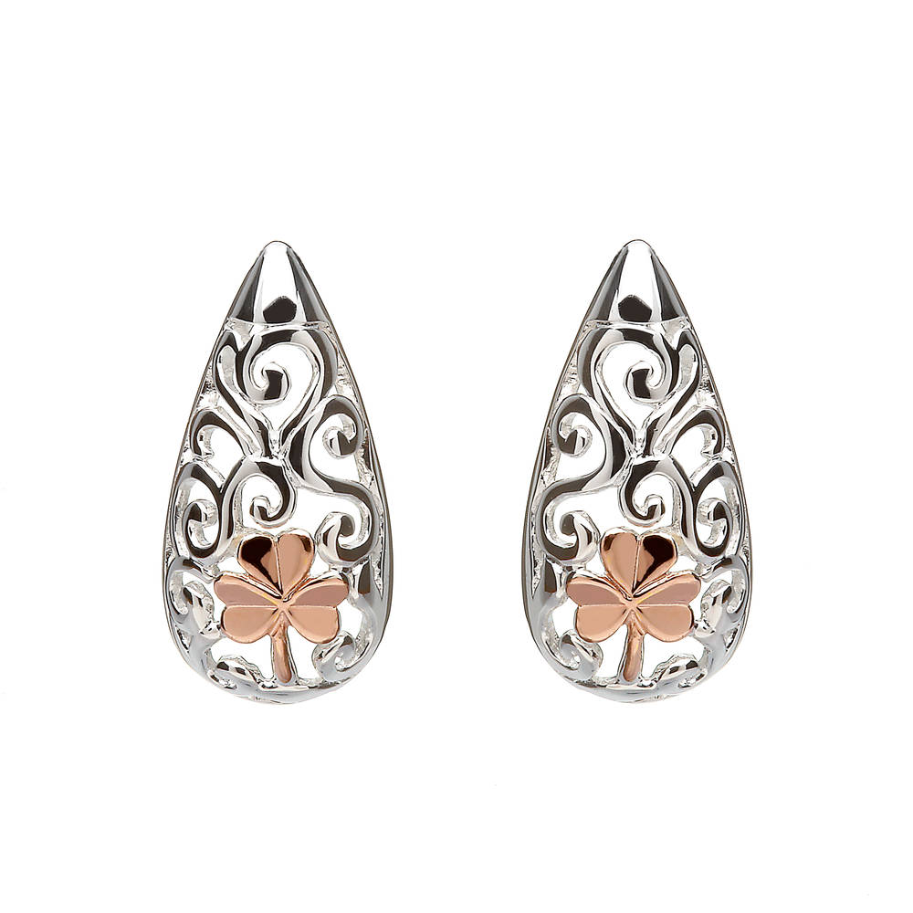 House of Lor silver Celtic earrings with rose gold Shamrocks made from rare Irish gold