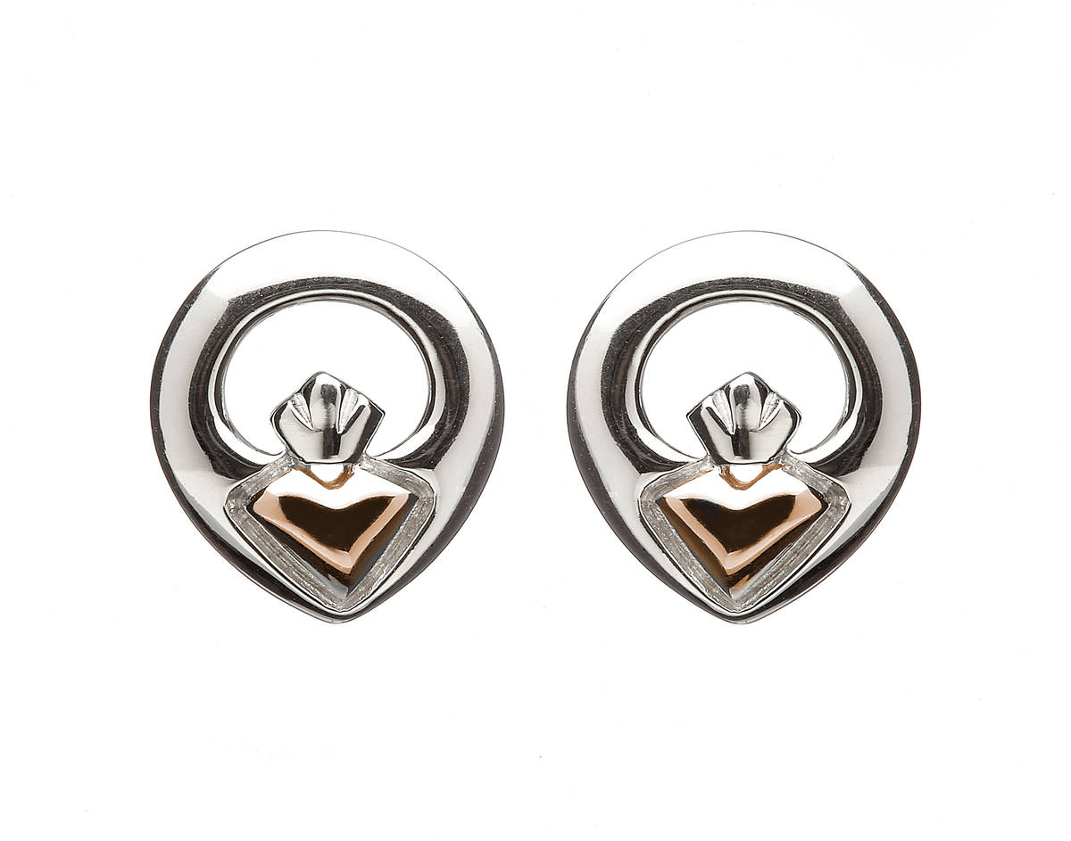 House of Lor silver/rose gold Claddagh stud earrings heart made from rare Irish gold