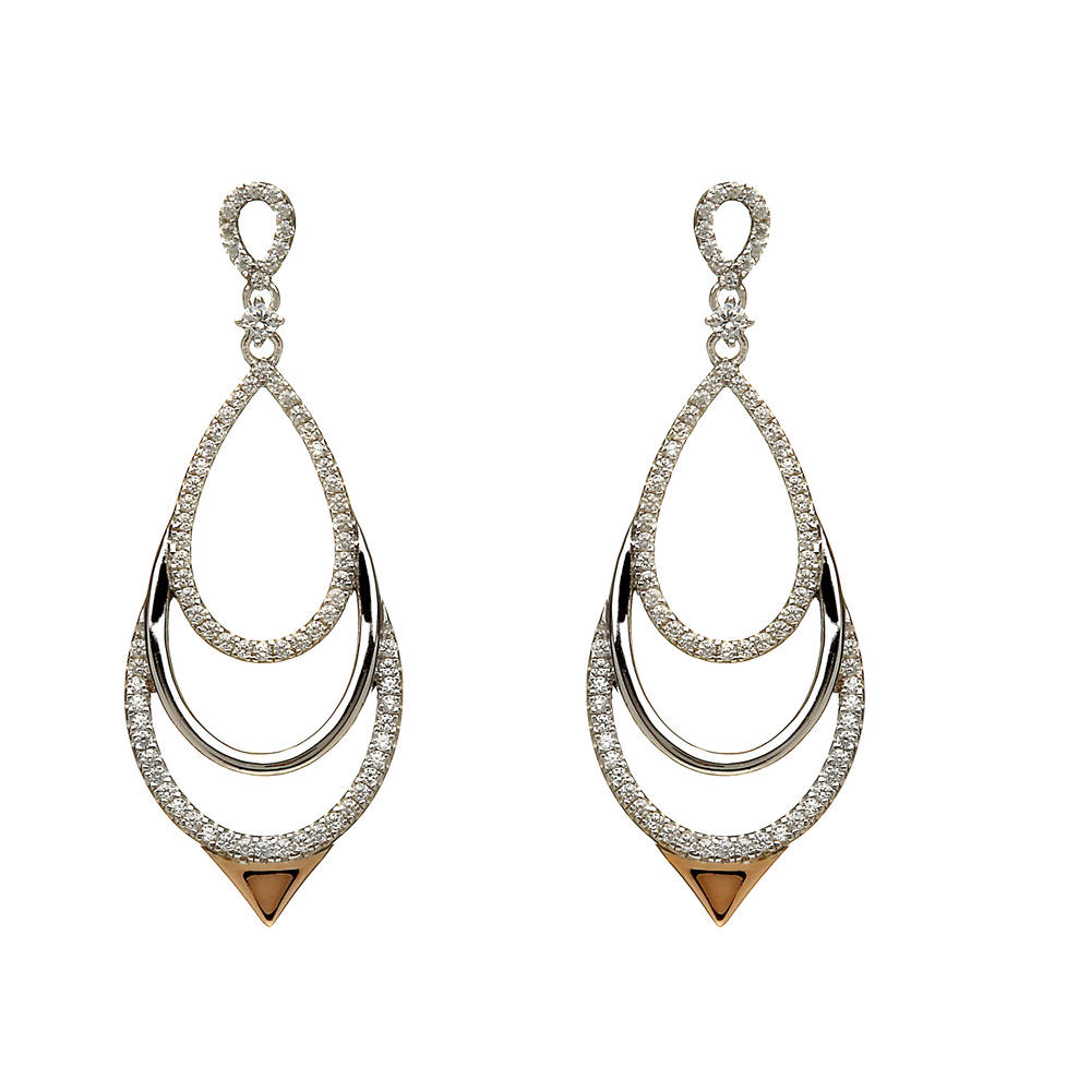 House of Lor silver/rose gold Chandelier cz earrings made from rare Irish gold