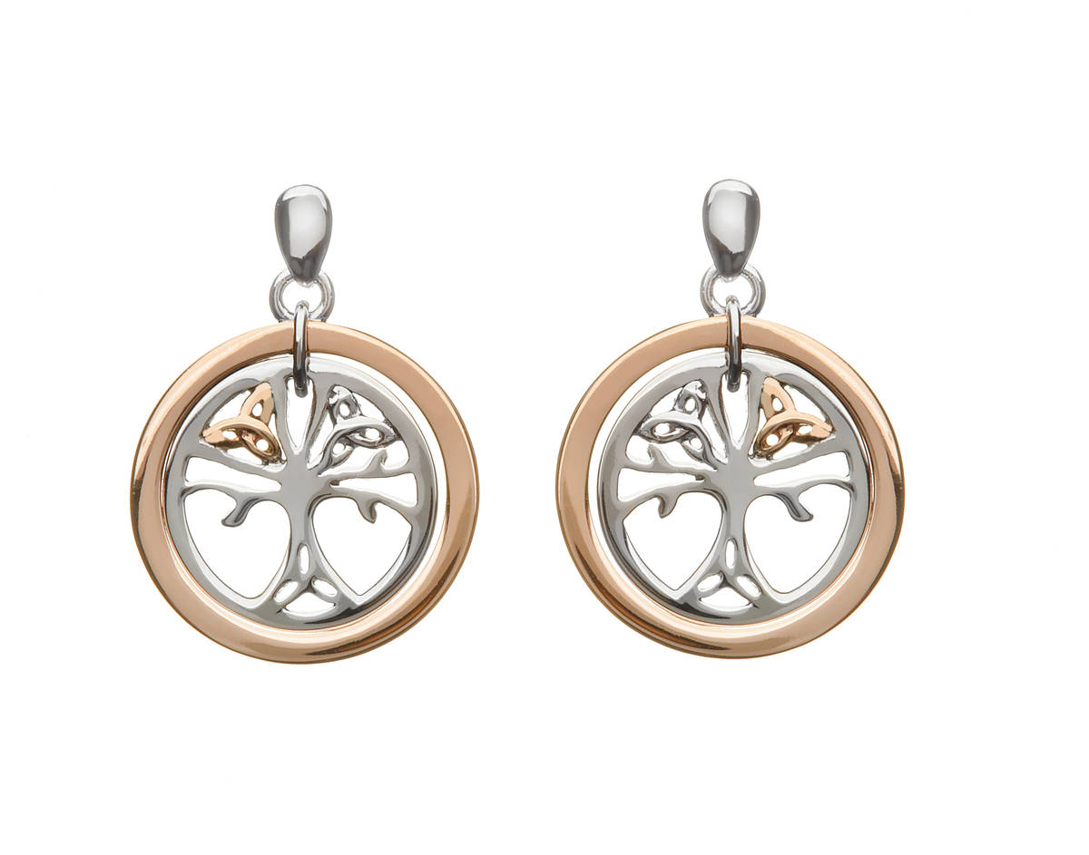 House of Lor silver/rose gold Tree of Life earrings made from rare Irish gold