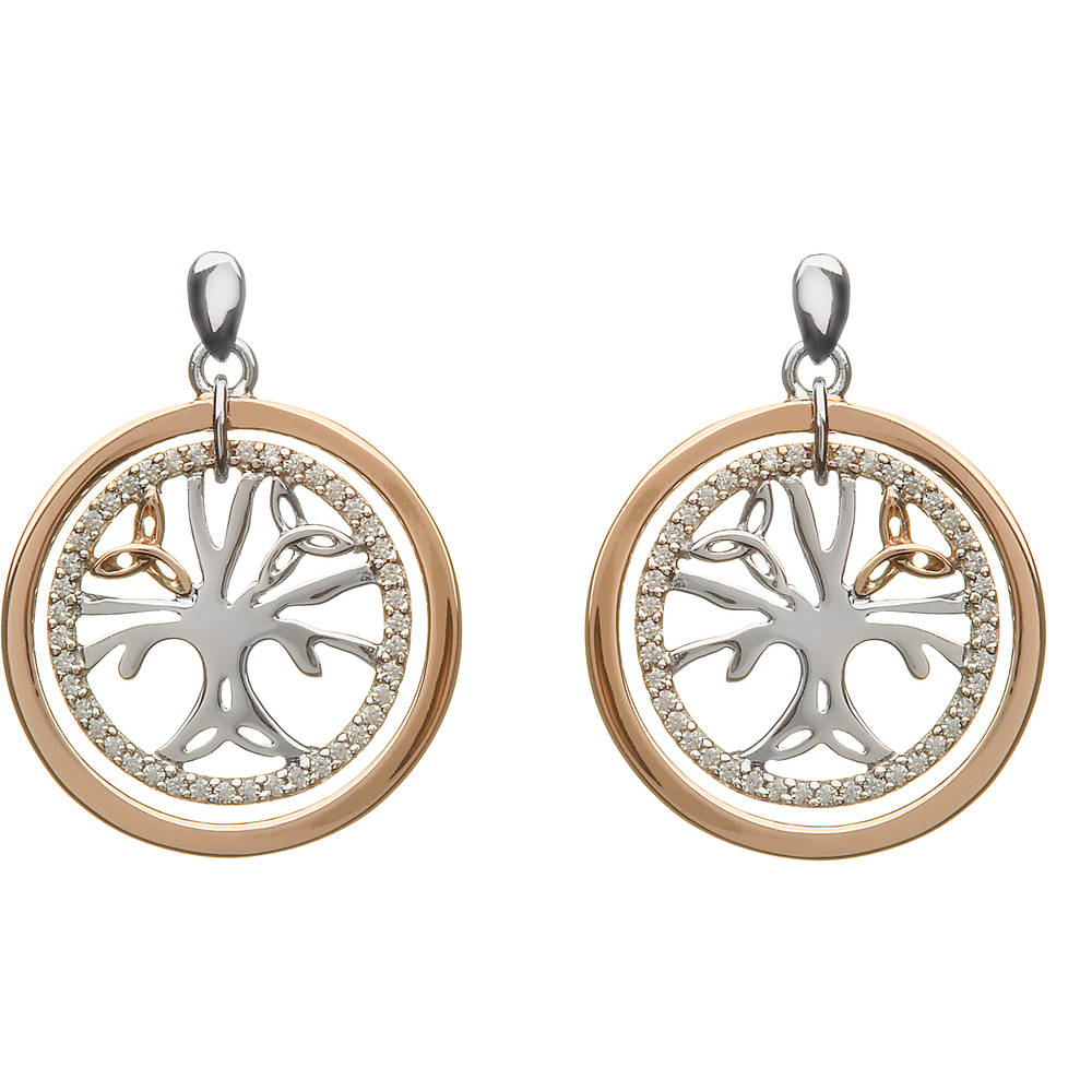 House of Lor silver/rose gold Tree of Life cz earrings made from rare Irish gold