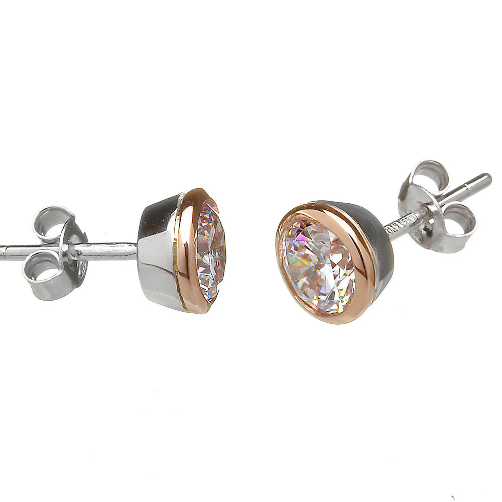 House of Lor silver/rose gold cz stud earrings made from rare Irish gold