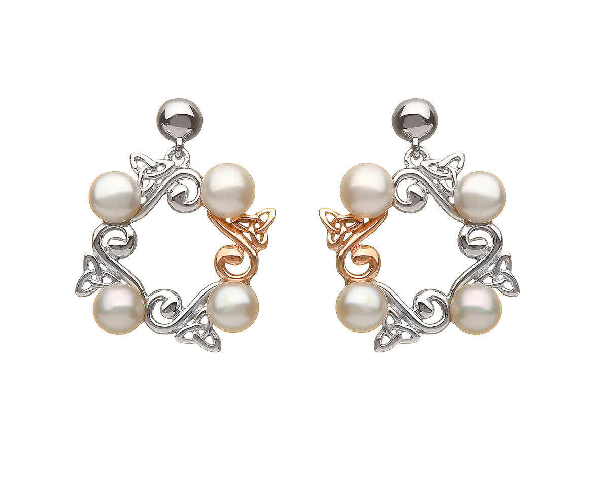 silver and rose gold Celtic fresh water pearl earrings