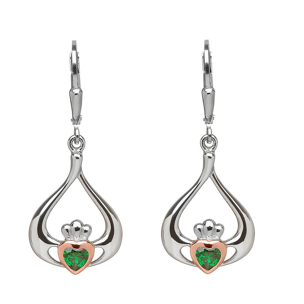 silver and rare Irish rose gold Claddagh drop earrings