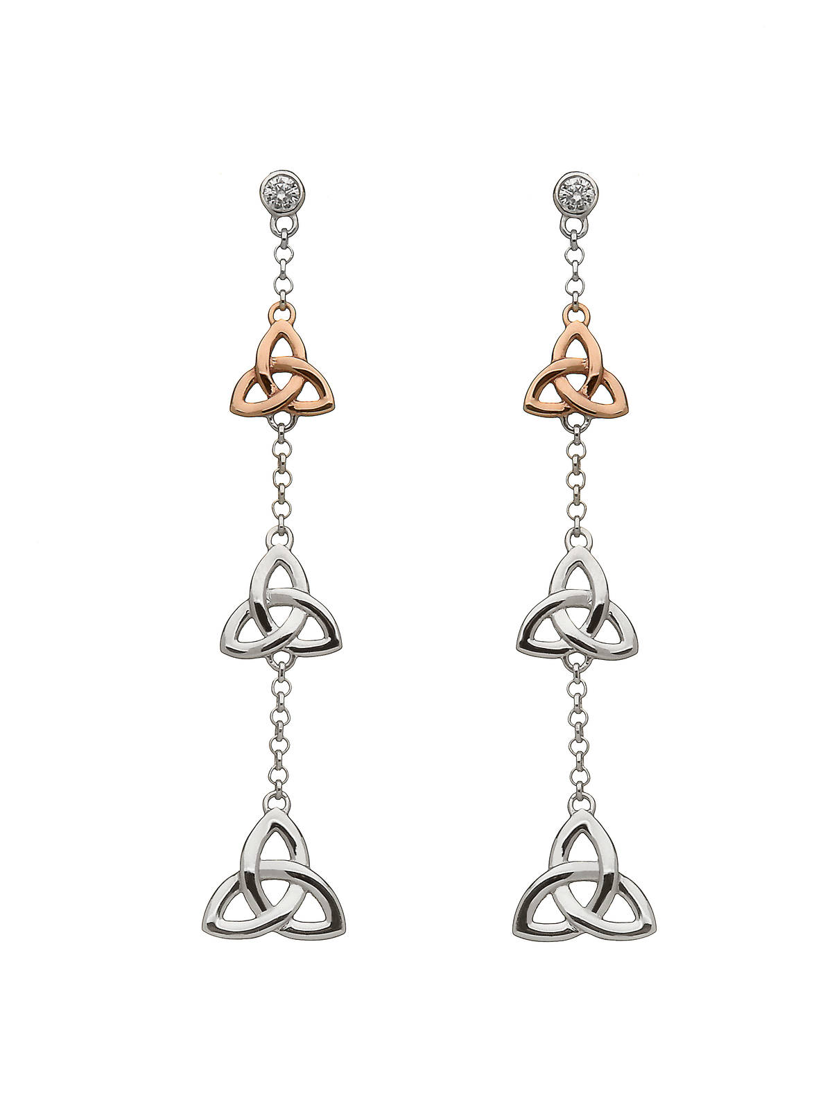 silver and rare Irish rose gold trinity knot 3 drop earrings with czs with top trinity knot made from gold.