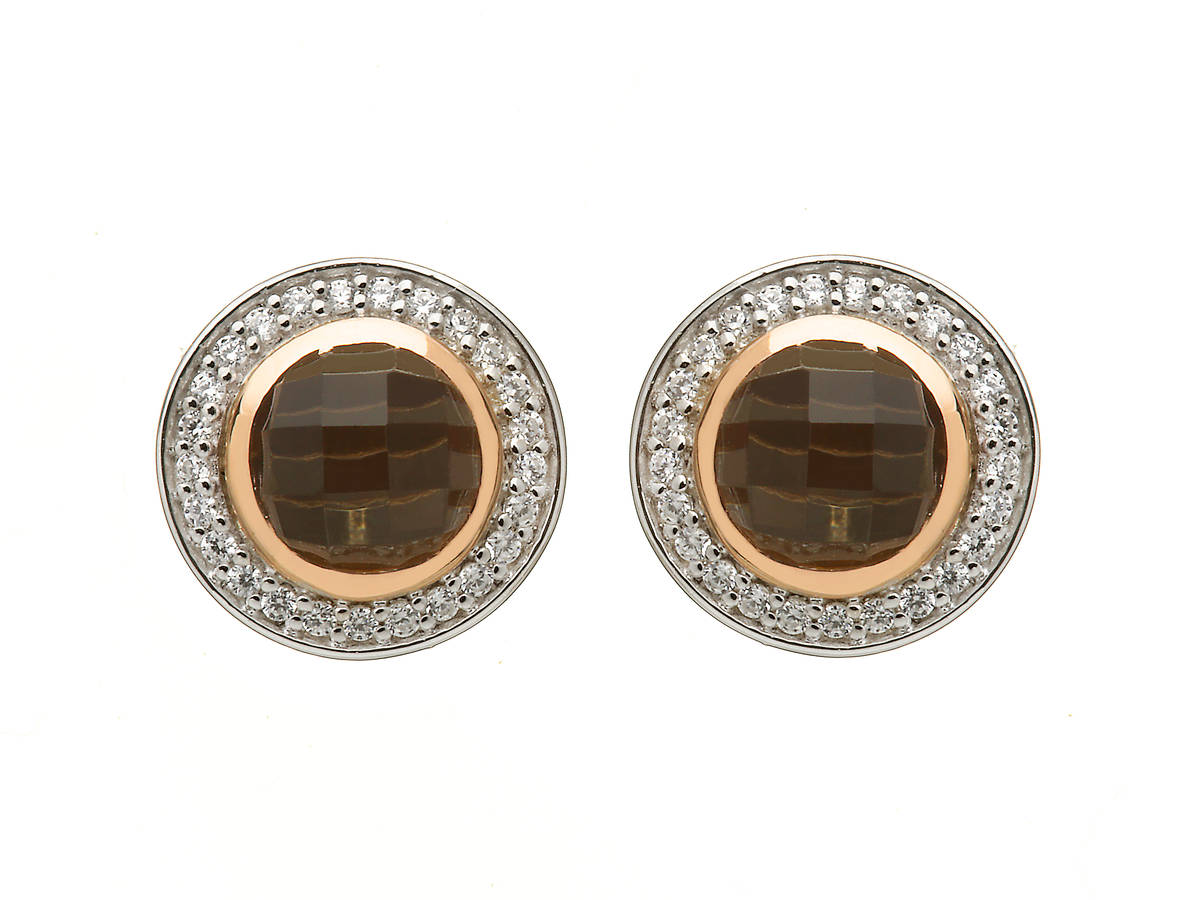 silver and rare Irish rose gold cz halo smokey quartz stud earrings with rims made from gold.