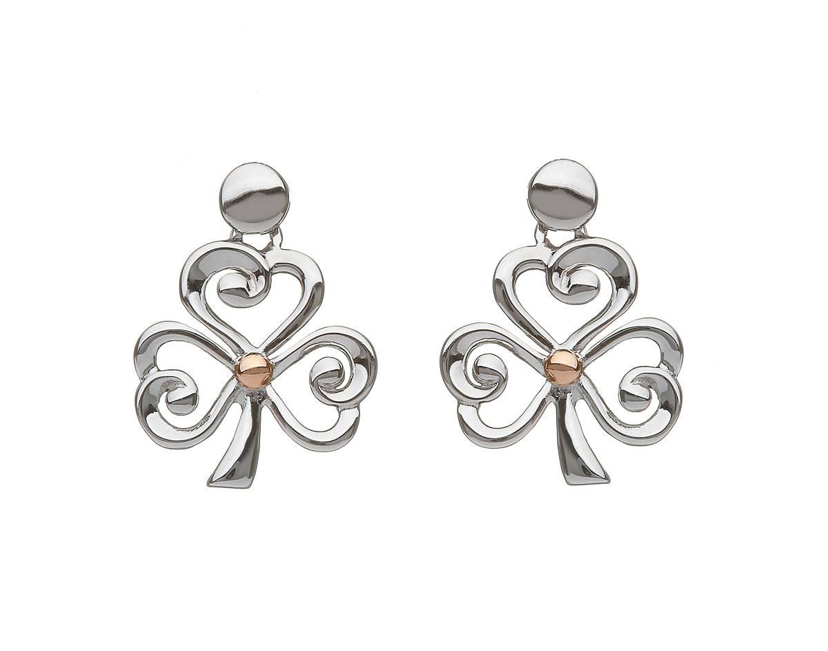 silver and rare Irish rose gold open shamrock stud earrings.