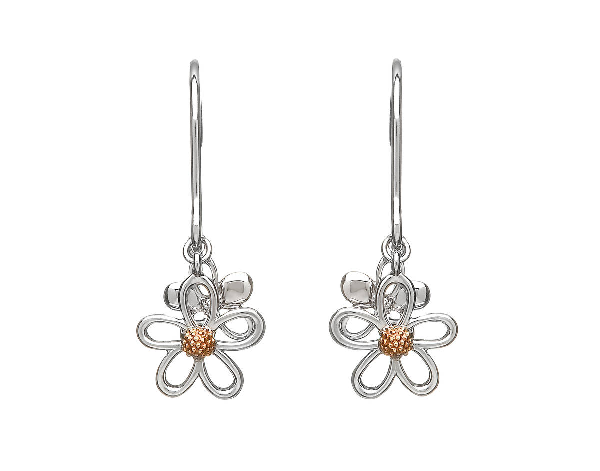 silver and rose gold double petal drop earrings