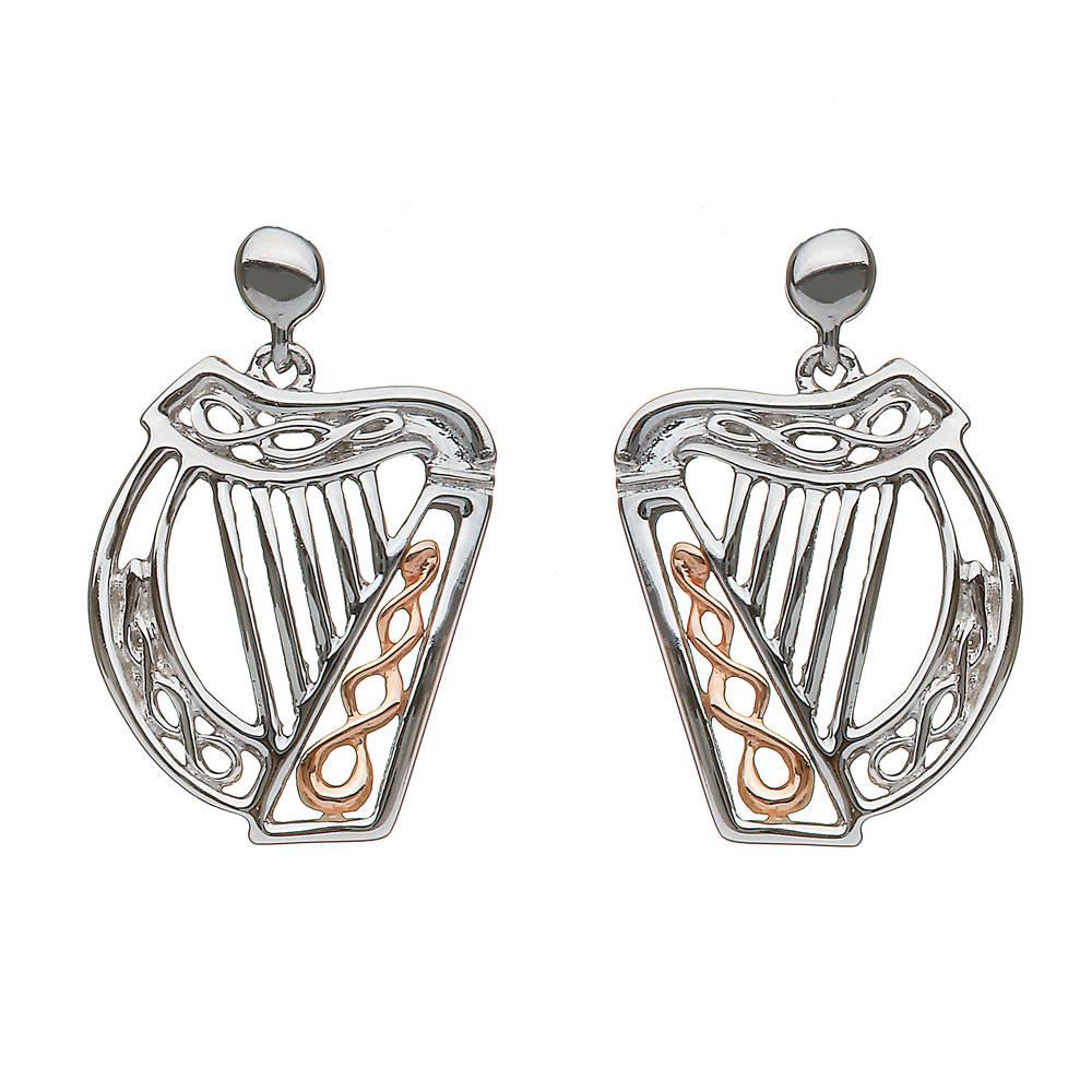 silver and rare Irish rose gold Celtic Harp earrings
