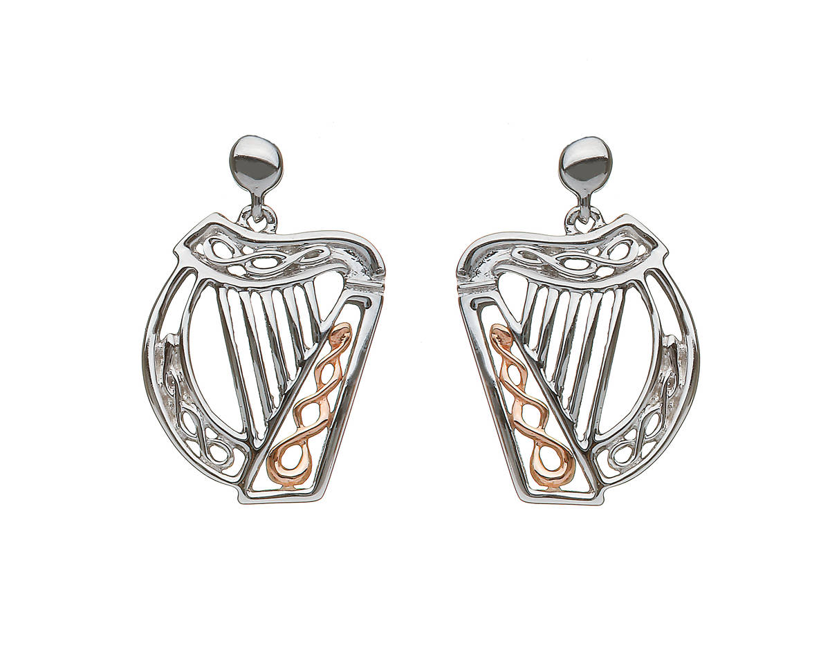 silver and rare Irish rose gold Celtic Harp earrings