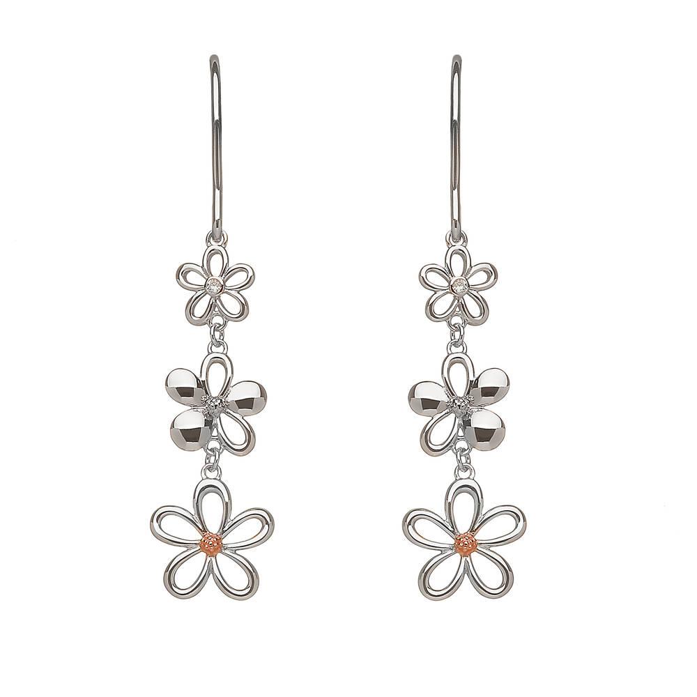 silver and gold diamond set 3 petal drop earrings