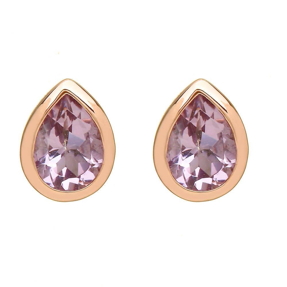 silver and rare Irish rose gold tear-drop amethyst earrings