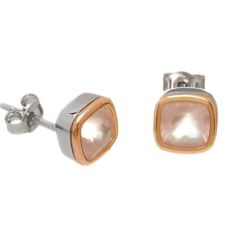 silver and rare Irish rose gold stud earrings with rose quartz