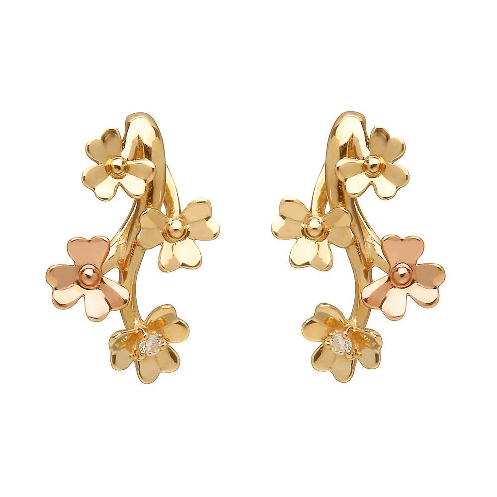 diamond set 9ct yellow gold love shamrock stud spray earrings