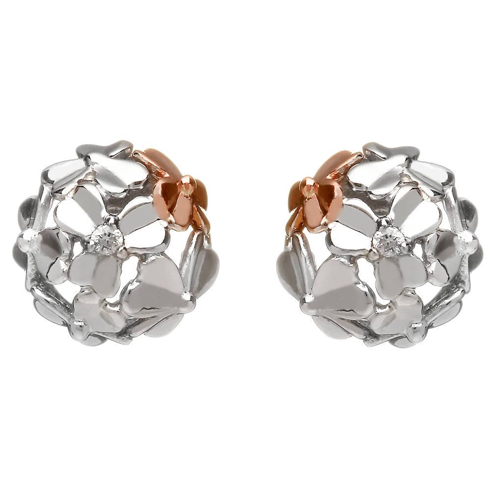 diamond set 9ct white gold love shamrock stud posy earrings